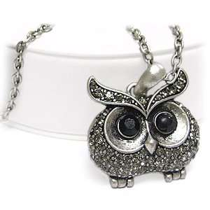 Silvertone Crystal Deco Owl Pendant Long Necklace Fashion Jewelry