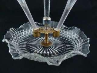 Antique Victorian Epergne Brass Art Glass Rose Vase