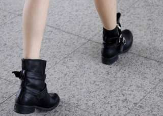 Punk Womens Low Heel Cool Mid calf Booties Boots Walker Shoes Casual