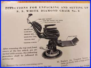 Vintage S.S. White Diamond Chair #3 Dental Chair 1952 Crated Never
