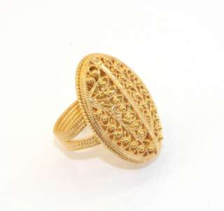Technibond Domed Oval Filigree Ring 14K Yellow Gold Clad Sterling