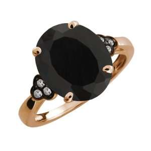 4.17 Ct Oval Black Onyx and Topaz Gold Plated Argentium