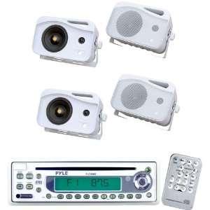 of 4 300 Watt 3 Way Water Proof Mini Box Speaker System (White