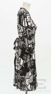 DVF Diane Von Furstenberg Black & White Print Long Sleeve Wrap Dress