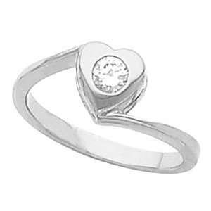 18K White Gold Diamond Heart Ring   0.15 Ct. Jewelry