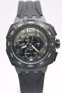 New Swatch Men Mister Chronograph Black Rubber Band Date Watch 45mm