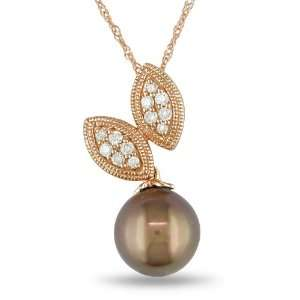 10k Rose Gold Diamond and Chocolate Tahitian Pearl Fashion Pendant and