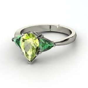 Madeline Ring, Pear Peridot 14K White Gold Ring with