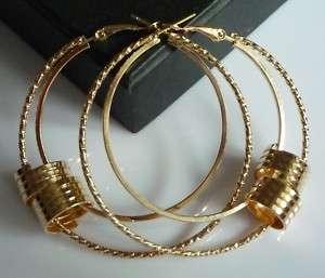 Fashion Gold Tone BIG Circles Hoop Earrings 2.3 GP P70