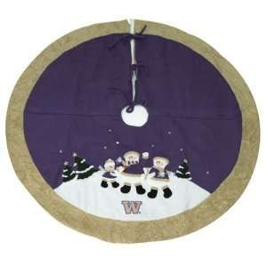 Washington Huskies NCAA Snowman Holiday Tree Skirt (48