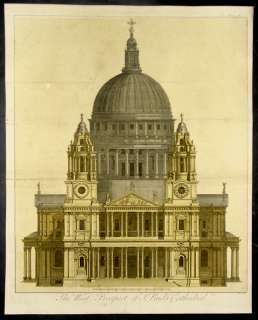 1755 Toms Antique Print of St Pauls Cathedral, London