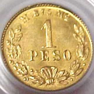 1901 Mo M MEXICO 1 PESO GOLD MEXICAN COIN PCGS MS63