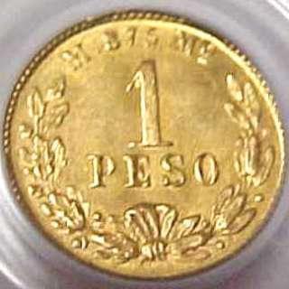 1901 Mo M MEXICO 1 PESO GOLD MEXICAN COIN PCGS MS63