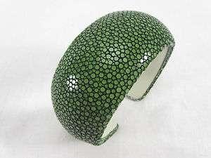 Genuine Stingray Leather Shagreen Cuff Bangle Bracelet GREEN + FREE