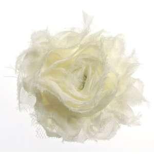 Magnetic Ivory Cream Chiffon Flower Shoe Clips