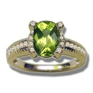 .23 ct 8X6 Antique Checkercut Peridot Fancy Ladies Ring Jewelry