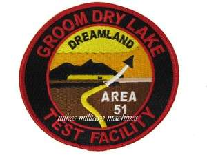 AREA 51 GROOM DRY LAKE TEST DREAMLAND SPACE ALIEN RESEARCH PATCH NEW