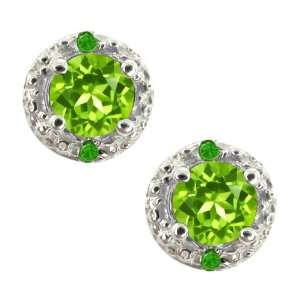 Genuine Round Green Peridot Gemstone 18k White Gold Earrings Jewelry