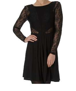 Black (Black) Lace Skater Dress  212015901  New Look