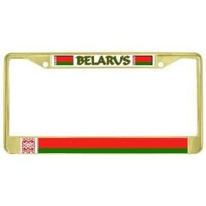 Belarus Belarusian Flag Gold Tone Metal License Plate