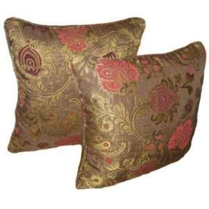 16x16 Burgundy and Pink Floral Brocade Decorative Throw Pillow Cover