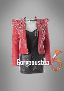 SC263 Red Pin Paricular Rock EMO Women Leaher Jackes Coas Elegan