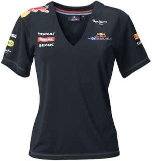 RED BULL RACING F1 TEAM WOMEN V NECK SPONSOR FUNCTIONAL T SHIRT