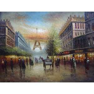 Winter Busy Paris Street to Eiffel Tower Scene Oil Painting 36 x 48