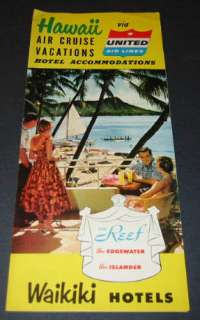 Old 1955 HAWAII Travel Brochure   UNITED AIRLINES