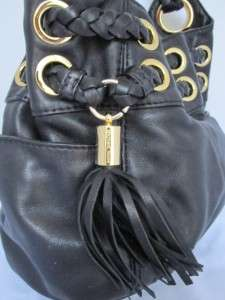 MICHAEL KORS SMALL BRAIDED GROMMET BAG PURSE BLACK