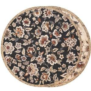 Black & Tan Floral Charger Center Round Placemat