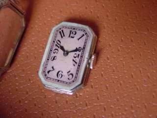 Vintage Longines Ladies Watch . 18K White Gold . Art Deco