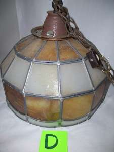 Vtg LEADED LEAD SLAG GLASS HANGING CEILING LIGHT FIXTURE LAMP SHADE