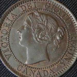 1859 Canadian Large Penny Queen Victoria One Cent Coin