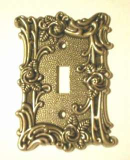 BRASS Single LIGHT SWITCH Plate COVER Shabby ROSES CHIC
