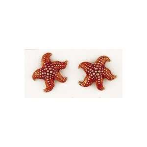 Reyes del Mar 14K Gold Starfish Enamel Earring