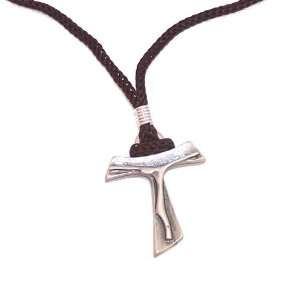 Pewter Tau Cross Necklace ( 1.5 inches Tau and 2 x 13