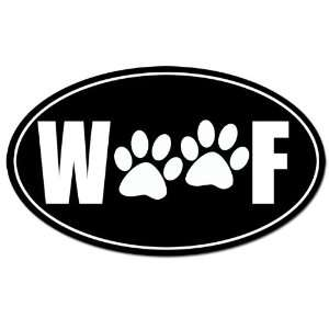 Black Oval WOOF PAWS Sticker