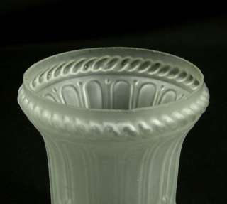 ART DECO SATIN FROSTED GLASS OIL LAMP LIGHT SHADE ~LEAF