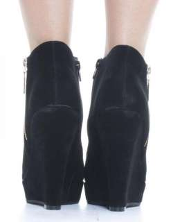 Shoes Womens Black Wedges High Heel Platform Shoe Ankle Boots Size