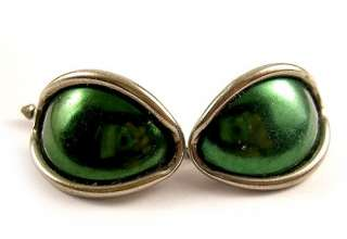 Vintage Silver Tone & Green Cats Eye Cufflinks Retro Mens Dress Suit