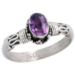 Sterling Silver Bali Style Ring, w/ 7 x 5 mm Oval Cut Natural Amethyst