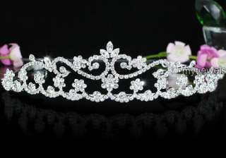 Bridal Wedding Pageant Sparkling Flower Tiara use Swarovski Crystal