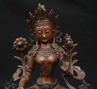 Old Tibetan Purple Bronze White Tara Statue Nepal