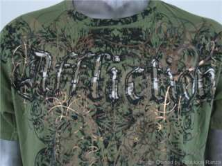 AFFLICTION T Shirt Medium Made in USA Winged Fleur De Lis Military
