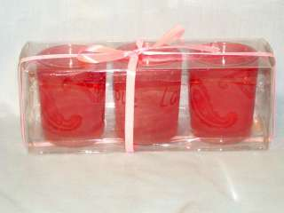 Candle 3 Pack Pink Votive Holders Gift Set Live, Laugh, Love, Hearts
