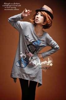 Women Cartoon Mouse Loose Long T shirt Top Mini Dress