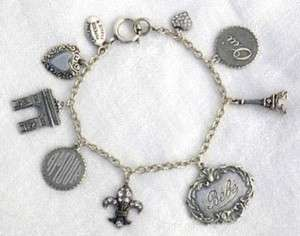French! PARIS Eiffel Tower/FL DE LIS Charm! BRACELET