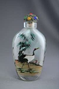 Hand Reverse Painted Asian Art Crane Bird Snuff Bottle