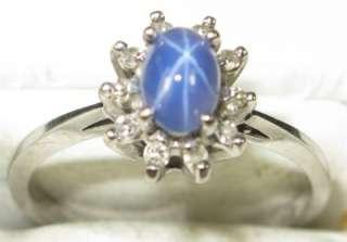 10K White Gold 1.10ctw Star Sapphire & H SI Diamond Ring Retail $2000